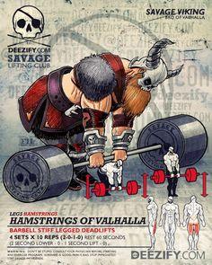 leg exercise: stiff leg deadlifts with viking