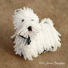 thelonebeader - West Highland terrier beaded Dog pin beading pattern for personal use only.