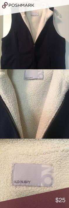Old navy. Navy vest Old Navy. Navy cotton vest outside, cozy, soft warmth on the the inside. Old Navy Jackets & Coats Vests