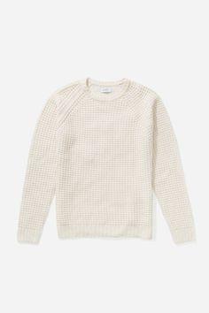 SATURDAYS SURF NYC Miguel Waffle Knit Sweater - Ivory. #saturdayssurfnyc #cloth #