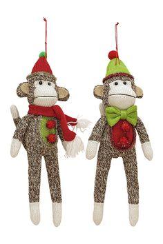 Assorted Sock Monkey Ornaments - Set of 2 | Sponsored by Nordstrom Rack.