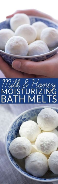 Homemade bath melts are the perfect way to soothe itchy skin while you soak. Get the easy recipe and learn why milk and honey are wonderful natural body care ingredients. All natural body care. Non-toxic bath and beauty. DIY bath bombs for bridal shower. Diy Spa, Diy Lush, Beauty Hacks For Teens, Homemade Bath Bombs, Homemade Soaps, Homemade Facials, Bath Bomb Recipes, Soap Recipes, Detox Recipes