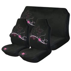 Cherry Blossom Car Seat Cover Pack - Pink & Black, Front & Rear, Size 60 & 06 - Supercheap Auto Australia