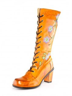 Eject Shoes. Orange boots with embroidered flowers. Like Frida Kahlo's hand painted boots...