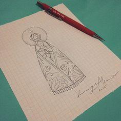 Nossa Senhora Aparecida. Desenho criado usando como inspiração uma imagem da santa. Não tive ...