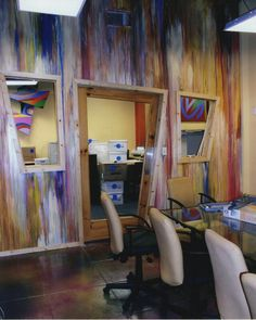 Walls at Color me mine corp office www.celestekorthasestudio.com