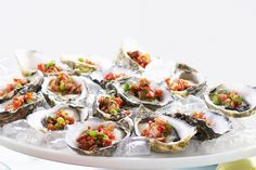 Add a bit of kick to fresh oysters with chilli and crunchy bacon.