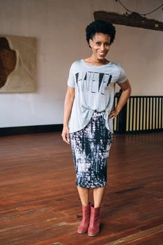 Whatever Tee Shirt, The Paper Doll Boutique, Basics, Tee Shirts, Printed Skirts, Fall Looks, Model