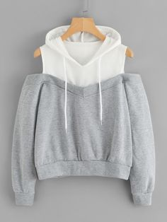 To find out about the Cold Shoulder Color Block Hoodie at SHEIN, part of our latest Sweatshirts ready to shop online today! Teen Fashion Outfits, Mode Outfits, Outfits For Teens, Stylish Outfits, Girl Fashion, Girl Outfits, Fashion Dresses, Ootd Fashion, Sweater Outfits
