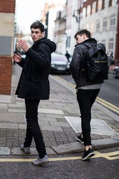 Just two cool guys walking round the city