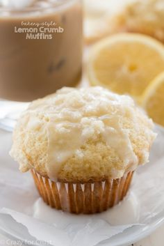 The perfect bakery style treat at home: Lemon Crumb Muffins. Make some for brunch or freeze for a quick morning snack with your coffee.