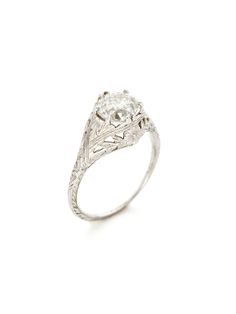 Vintage Diamond Filigree Ring by Estate Fine Jewelry at Gilt Vintage 18K white gold filigree ring with old European cut diamond center detail  Total diamond carat weight is approximately 2.10 Diamond color is F Diamond clarity is SI2