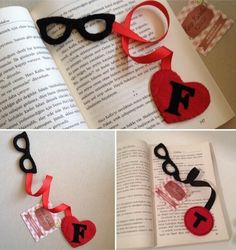 Glasses with initial heart 5 Min Crafts, Diy Home Crafts, Felt Crafts, Handmade Crafts, Crafts For Kids, Arts And Crafts, Creative Bookmarks, Diy Bookmarks, Cross Stitch Bookmarks