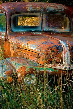 Vintage Ford pickup truck in a West Virginia field.