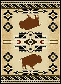 """The """"South West Buffalo"""" floor rug gives a western lodge feel to any home. Its south western design featuring buffalo with a Native American motif give this rug a unique look. Native American Blanket, Native American Rugs, Native American Patterns, Native American Symbols, Native American Design, Native American Crafts, Motif Navajo, Navajo Rugs, American Indian Decor"""