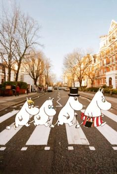 Happy Moomin - The Beatles Moomins too awesome Moomin Wallpaper, Cartoon Wallpaper, Iphone Wallpaper, Abbey Road, Tove Jansson, Moomin Valley, Oeuvre D'art, Aesthetic Wallpapers, Cute Wallpapers