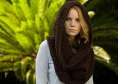 Hooded Cowl, Chocolate Brown Infinity Scarf, Woodland Snood, Fall Fashion Accessories. $38.00, via Etsy.