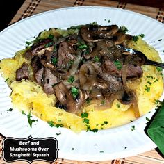 Recipe: Beef and Mushrooms in Rosemary Sauce Over Spaghetti Squash - Mother Rimmy's Cooking Light Done Right
