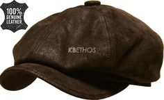 1d373826704 Details about 100% Genuine Leather Mens Ivy Hat Golf Driving Ascot Flat  Cabbie Newsboy