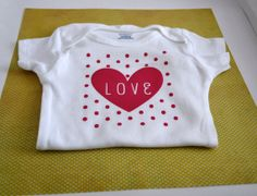 Love and Polka Dot Onesie  All Sizes by FrillsAndFlairGifts, $11.99