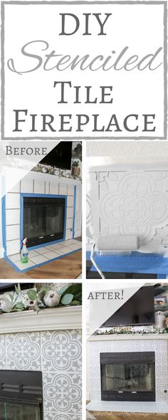 DIY Stenciled Tile Fireplace Hello my friends! Thanks for stopping by today. Did you all get a chance to check out the new living room that I tackled for this season's One Room Challenge? I'm still getting used to walki Fireplace Update, Home Fireplace, Fireplace Remodel, Living Room With Fireplace, Fireplace Makeovers, Room Makeovers, Fireplaces, Fireplace Ideas, Fireplace Mantels