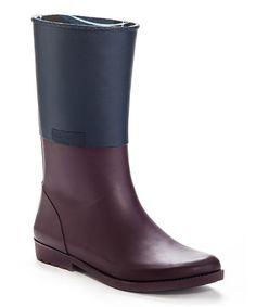 Look what I found on #zulily! Burgundy & Navy Bond Rain Boot by Henry Ferrera #zulilyfinds