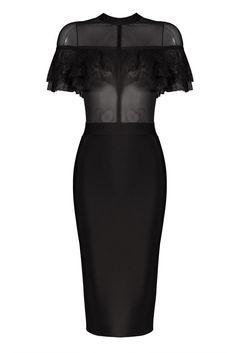 Honey Couture FIZZ Black Mesh Insert Lace Overlay Midi Bandage Dress
