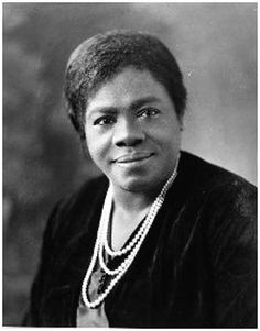 """Mary McLeod Bethune -- founder of and sole woman in FDR's Black Cabinet, defender of women's rights, education, and health care for the poor.  After the overturn of Plessy v. Ferguson she said, """"There can be no divided democracy, no class government, no half-free county, under the constitution. Therefore, there can be no discrimination, no segregation, no separation of some citizens from the rights which belong to all."""""""