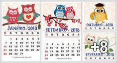 Calendário 2018 para imprimir - Tema Corujas - Educação Infantil - Aluno On