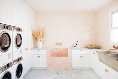 Gorgeous laundry room with dog wash sink. I like the blush pink but think I'd . Gorgeous laundry room with dog wash sink. I like the blush pink but think I'd … , Pink Laundry Rooms, Laundry Room Design, Küchen Design, House Design, Interior Design, Three Birds Renovations, Dream House Interior, House Rooms, Home Office