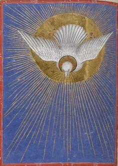 Holy Spirit Dove ~ nationale de France, Latin 747, f. 241v. Missale ad usum fratrum minorum. Milan, c.1385-1390.