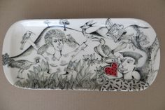 """Flying Time"" . Hand-painted platter . Tiffany Wallace Ceramics SA. 2013"