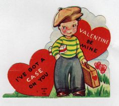 Vintage Boy Carrying Suitcase and Gift Valentine Vintage Valentine Cards, Valentine Day Crafts, Vintage Boys, Vintage Travel, Vintage Images, Just In Case, Suitcase, Parties, Events
