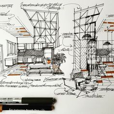 Marvelous Home Design Architectural Drawing Ideas. Spectacular Home Design Architectural Drawing Ideas. Interior Design Sketches, Interior Rendering, Sketch Design, Pop False Ceiling Design, Building Sketch, Chart Design, Architecture Drawings, Copics, Architect Design