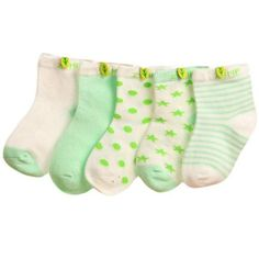 5 pack Baby Boy or Girl Newborn Mint Green Set Floor Socks, Toe Warmers Stripes