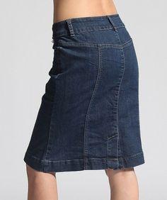 MOGAN Vintage Washed Denim Peplum Knee Jean Skirt Princess Seam Petal Hem New | eBay