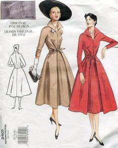 Vogue FREE US SHIP 2401 Vintage Retro 1950's Sewing Pattern 1952 Faux Wrap Dress 2001 Reproduction Old Store Stock Uncut Size 6/10 12/16