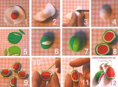 Tuto fimo : Pastèques   Bijoux sucrés, Bijoux fantaisie, Bijoux gourmands, Pâte Fimo, Nail Art et Miniatures gourmandes
