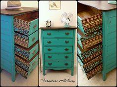 Check out this unique, artistic dresser revival.