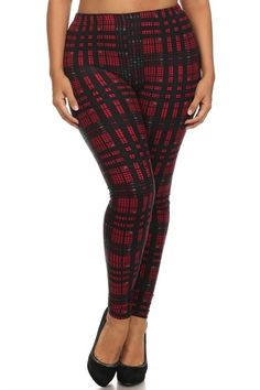 plus size high waist stretchy leggings in red plaid #plussizepants #plussizefashion #plussizeleggings