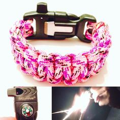 Pink Survival Bracelet - Womens Pink Camo Paracord Bracelet with Flint and Striker, Signal Whistle, and Compass - Macrame Bracelet Survival