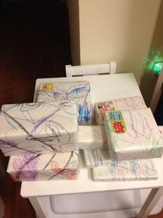 Surprise, delight, and recycle with this DIY giftwrap of used MÅLA drawing paper