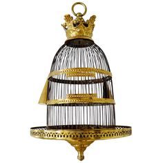 19th Century Brass Birdcage | From a unique collection of antique and modern bird cages at http://www.1stdibs.com/furniture/more-furniture-collectibles/bird-cages/