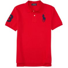 Short Sleeve Big Pony Polo ❤ liked on Polyvore featuring tops, short sleeve tops, red short sleeve top, polo tops and red top