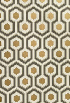 Hicks' Hexagon Wallpaper Small Geometric Design design wallpaper in Charcoal and Fawn with metallic copper embellishment.
