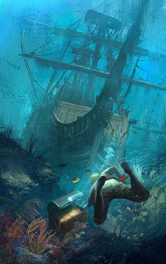 Assassin's Creed IV Black Flag Fan-art by Sergey Zabelin Pirate Art, Pirate Life, Fantasy Places, Fantasy World, Segel Tattoo, Assassins Creed Black Flag, Old Sailing Ships, Creation Art, Fantasy Kunst