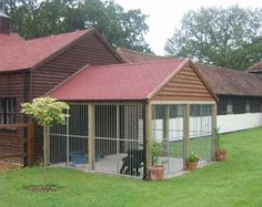 Build or Buy an Outdoor Dog Kennel that is attached to house used as dog bathroom area. Description from pinterest.com. I searched for this on bing.com/images