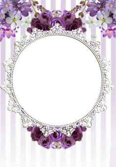 Border Templates, Baby Shower Purple, Blue Nose Friends, Queen Art, Circle Labels, Floral Logo, Holidays And Events, Pink Flowers, Frames