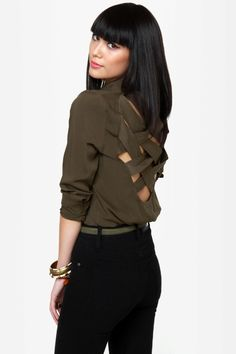 Cute Backless Top - Button-Up Top - Olive Green Top - Collared Top - $39.00
