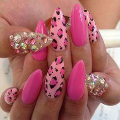 ༻✿༺ ❤️ ༻✿༺ #Swarovski #Nails #Pink #LeopardPrint ༻✿༺ ❤️ ༻✿༺